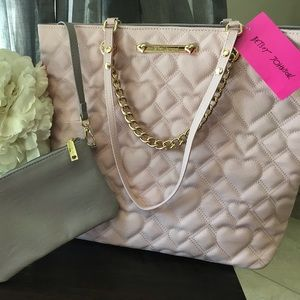 NWT Betsey Johnson Pink Swag Chain Tote